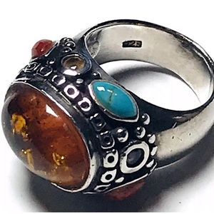 Amber Dome Ring Size 7 Turquoise Spiny Oyster 925